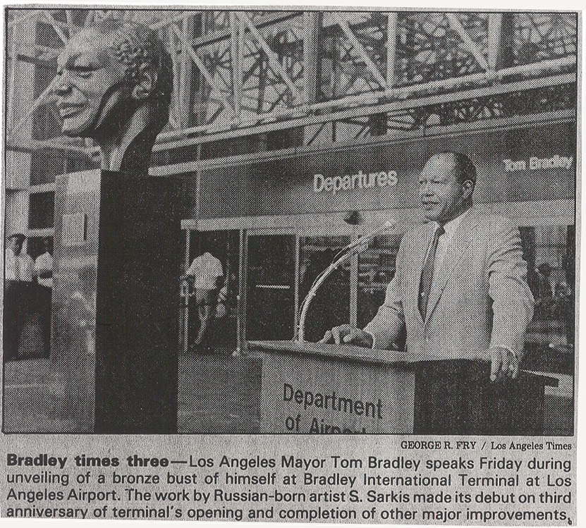 Figure 3: Los Angeles Mayjor Tom Bradley speaks Friday during unveiling of a bronze bust of himself at Bradley International Terminal at Los Angeles Airport.  The work by Russian-born artist S. Sarkis made its debut on the third anniversary of terminal's opening and completion of other major improvements.